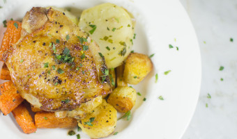Crispy-Skin Chicken Thighs with Root Veggies